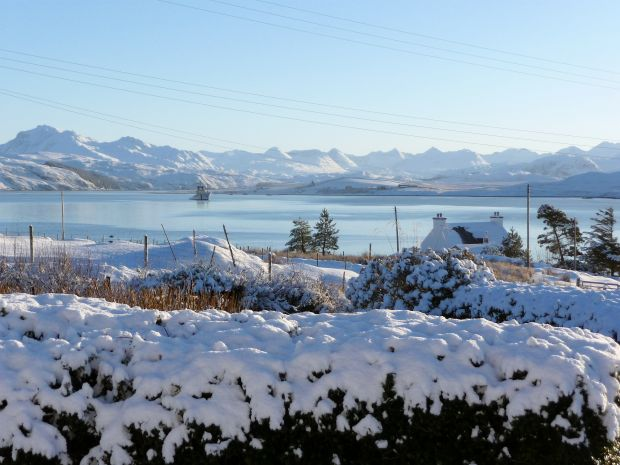 Snow and ice in Wester Ross, looking across Loch Ewe towards the Torridon Hills.